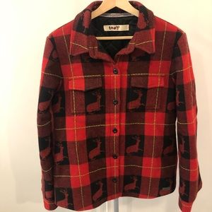 Aritzia TNA Red Plaid Deer Wool Blend Jacket